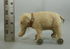 Antique German Putz MINIATURE Elephant On Wheels PULL TOY