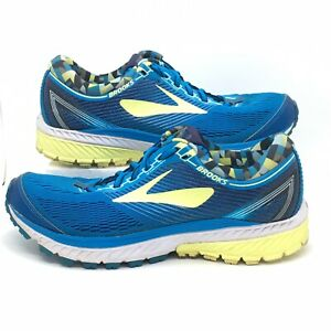 Brooks Women's Ghost 10 1202461B422 Blue Lime Running Shoes Lace Up Size 8.5