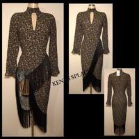 "ZARA Fringe Detail Midi Dress (S) *BNWT* Pit-Pit17"" Waist 28"" Paisley RRP;£60"