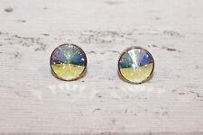 Ohrstecker NEU Ohrringe regenbogen crystal Swarovski Strass rund klein stecker