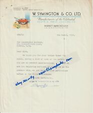 MARKET HARBOROUGH W Symington & Co Ltd 1951 letter Luckington Pottery billhead