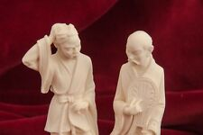Vintage Signed A.Giannelli Italian Carved Alabaster Sculptures Of Two Men