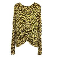 Bimba y Lola Yellow Black Square Pattern Sweater Top with Ruched Front Sml 8 10