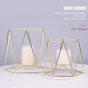 Hexagon Wire Candle Holder Tabletop Wedding Decor Candlestick Tea Light Lantern