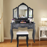 Wood Black Vanity Makeup Dressing Table Set with Stool 5 Drawer&Folding Mirror A