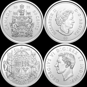 Lot Of 2! 1 Of Each 2021 Canada 50 Fifty Cent UNC Coins, 100th Annv & Reg. Issue