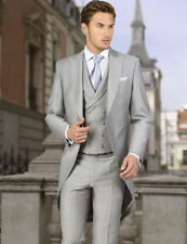 3 Pieces Light Grey Tailcoat Formal Wedding Groom Tuxedo Men's Morning Suits