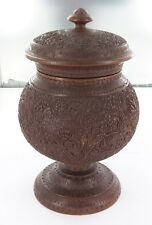 .AN INTRICATELY CARVED ANTIQUE ANGLO INDIAN EXPORTWARE SANDALWOOD TEA CADDY