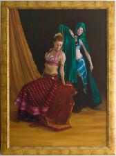 Original Framed Oil Painting 2 Dancers Dancing Girls women Female Belly dance