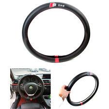 S-line Black Carbon Fiber Car Steering Wheel Cover Decoration 38CM For Audi