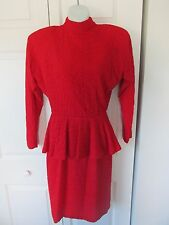 OUTRAGEOUS Red Backless Peplum Long Sleeve Dress Size 7/8 High Collar Stretchy