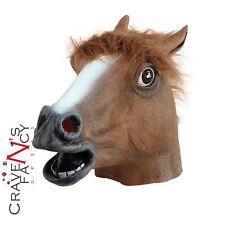 Horse Pony Head Mask Brown Best Unisex Halloween Fancy Dress Costume Accessory