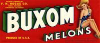 Vintage BUXOM MELONS 1940s Fruit CRATE LABEL ART PRINT Pin-Up Girl Yuma Arizona