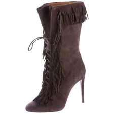 Aquazzura Carly Fringe Boots Suede 39 Retail $1,250!!