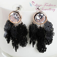 Diamond Rose Gold Plated Chandelier Fashion Earrings