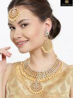 Indian White Pearl Maang Tikka Necklace Wedding Ethnic Bridal Wedding Jewellery