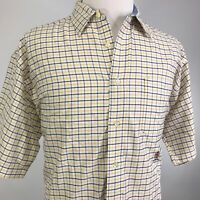 VTG TOMMY HILFIGER CREST LOGO SHORT SLEEVE PLAID CHECK BUTTON DOWN SHIRT MENS L