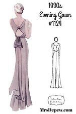 Vintage Sewing Pattern 1930s Evening or Wedding Gown in Any Size - Plus #1124