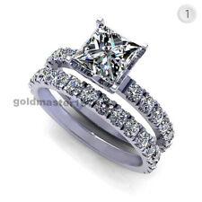 1.58ct Princess Shape Near White Moissanite 14K Gold Wedding Engagement RingSet