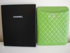 Chanel Green Quilted Leather iPad tablet holder cover case w/box new authentic