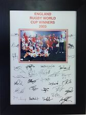 More details for england 2003 rugby world cup signed  a4 print framed