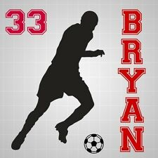 """Soccer player boy name vinyl decal,Soccer silhouette number wall 30"""" x 30"""""""