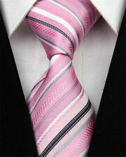 Men's Pink Grey Silver White Business Tie Mens Necktie Birthday Gift Idea Riding