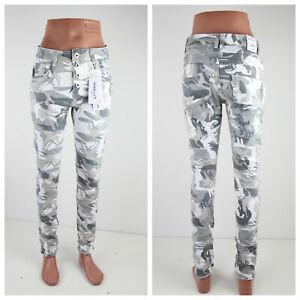 Jewelly Damen Jeans Slim Stretch Knopfleiste Camouflage Tarnmuster JW9203