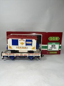 LGB #4037 G SCALE CIRCUS WAGON TICKET CAR ON FLAT CAR WITH ORIGINAL BOX & SLEEVE