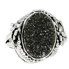 Native American Reproduction Black Druzy  Sterling Silver Ring  s.7 RR31865