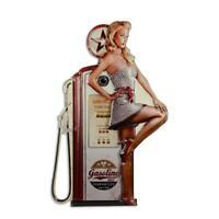 Gasoline Frau Tankstellen Werbung Blechschild 60er Jahre Dekoration