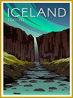 Iceland Svartifoss Retro Home Wall Decor Travel Advertisement Art Poster Print.