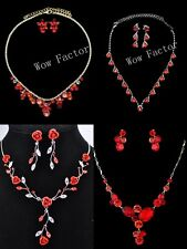 Red Diamante Rhinestone CZ Crystal Gold Silver Tone Necklace Jewellery set Boxed