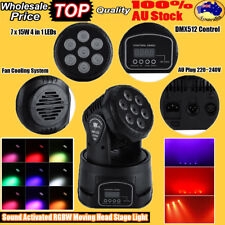 1-5pcs RGBW 7x15W LED Moving Head Stage Par Light 4in1 DJ Disco Auto Band Effect