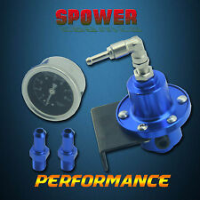 Universal Aluminum Adjustable Fuel Pressure Regulator With Gauge Type S Blue