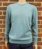 Men`s Crew Neck Jumper Cotton Blend Size Medium Petrol Green Ex-M&S Pullover
