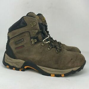 Coleman Mens Moraine Brown Leather Hiking Boots Ankle Top Waterproof Size 8