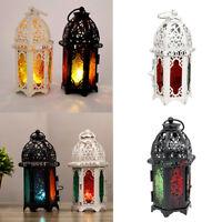 2x Lanterna da tavolo con portacandele in vetro retro candelabro
