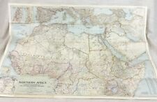 1954 Large Vintage Map of North Africa Middle East Arabia National Geographic