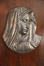Virgin Mary silver plated bronze wall hanging, Virgin Mary wall art 19th century