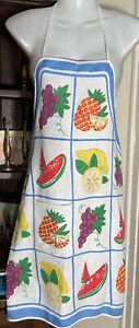 Vintage retro 70s Colourful Tutti Frutti Colourful cotton Tie Back Apron Pinny