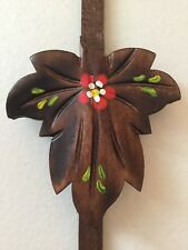 NEW CUCKOO CLOCK WOOD LEAF PENDULUM, HAND PAINTED FLOWER , MADE IN GERMANY