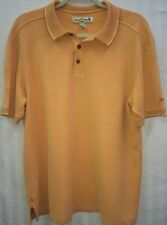 Tommy Bahama Peach Orange Silk Cotton Blend Mens Large Golf Shirt