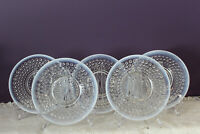 "SET OF 5 ANCHOR HOCKING MOONSTONE CLEAR OPALESCENT 6-3/8""  BREAD & BUTTER PLATES"