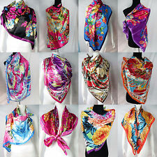 "lot of 5 wholesale  Artificial silk 39"" satin square scarves shawl wrap stole"