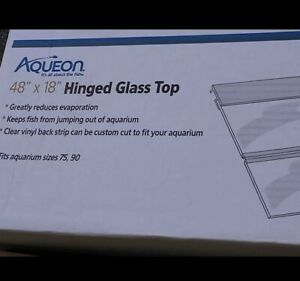 """Aqueon Glass HingedTop Contains 2 complete hinged section total 48""""x18"""" open box"""