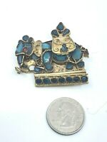 Vintage Tibetan Brass Elephant Brooch Turquoise Coral Glass? Inlay