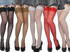Suspender Stockings Plain New Sizes S M L XL XXL  17 Denier Sheer