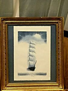 VNTAGE LIMITED 22/200 BLUE ETCHING SAILBOAT SIGNED w/VERY NICE FRAME