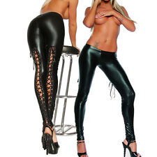 Lady Gothic Punk Wet Look PVC Like Lace Up Back Leggings Pants Clubwear Trousers